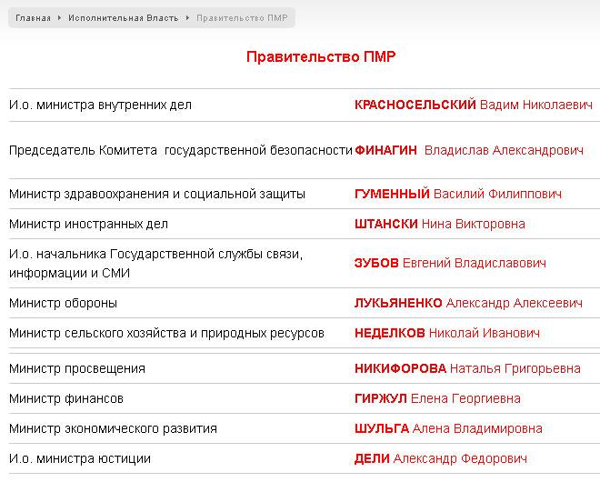 О Правительстве Приднестровья и о Конституции ПМР